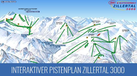 Pistenkarte Skigebiet Zillertal 3000